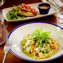 Goats cheese, pesto and sun dried tomato risotto