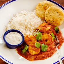 Medium spiced king prawn madras curry
